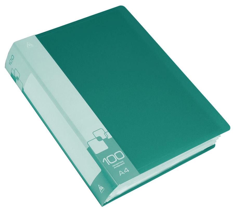 Папка с 100 прозр.вклад. Бюрократ -BPV100GRN A4 пластик 0.8мм торц.карм с бум. встав зеленый