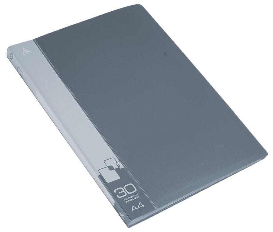 Папка с 30 прозр.вклад. Бюрократ -BPV30GREY A4 пластик 0.65мм торц.карм с бум. встав серый