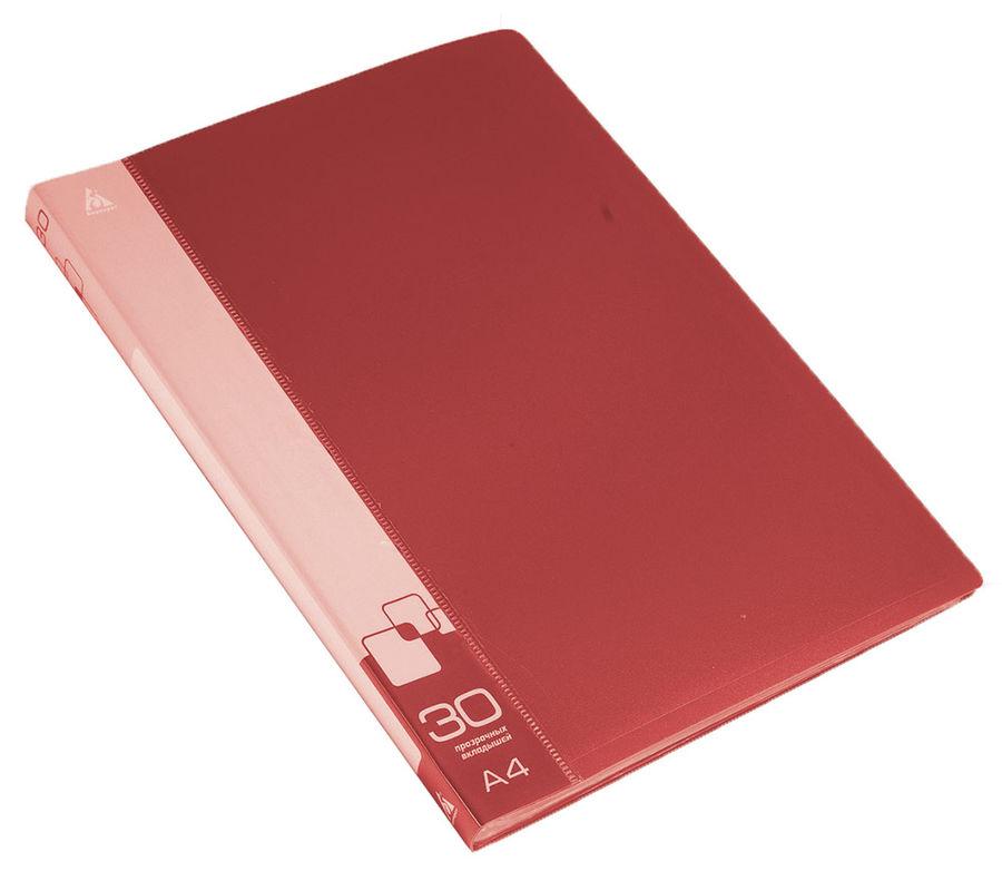 Папка с 30 прозр.вклад. Бюрократ -BPV30RED A4 пластик 0.65мм торц.карм с бум. встав красный