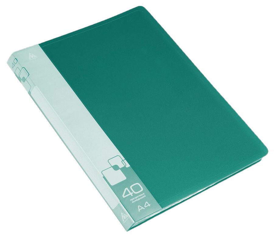 Папка с 40 прозр.вклад. Бюрократ -BPV40GRN A4 пластик 0.65мм торц.карм с бум. встав зеленый