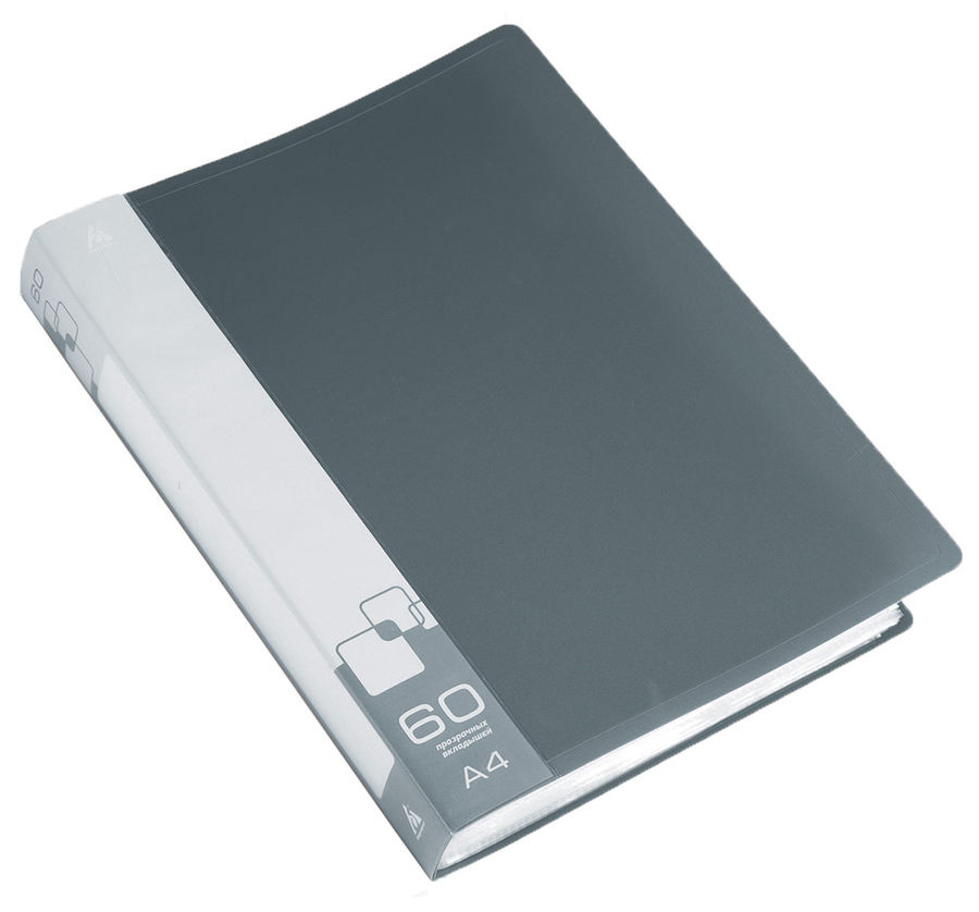 Папка с 60 прозр.вклад. Бюрократ -BPV60GREY A4 пластик 0.7мм торц.карм с бум. встав серый