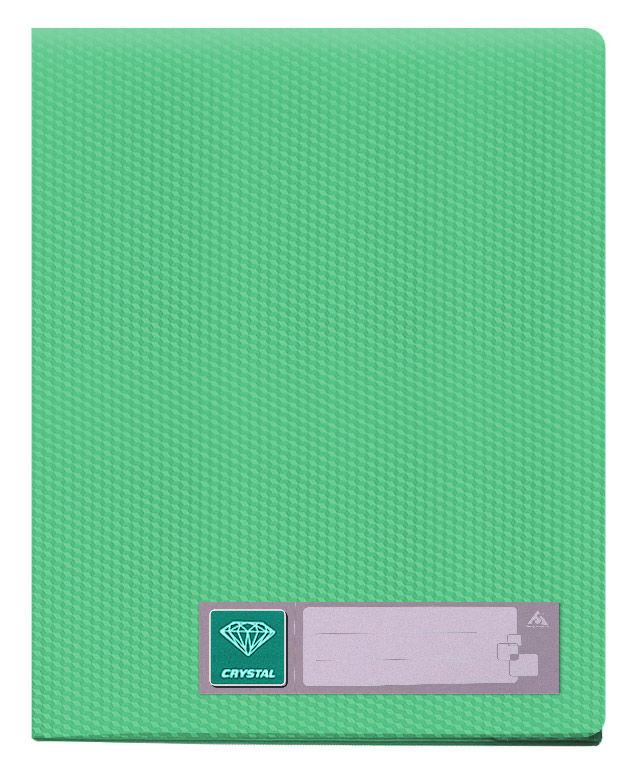 Папка с 40 прозр.вклад. Бюрократ Crystal -CR40GRN A4 пластик 0.5мм зеленый