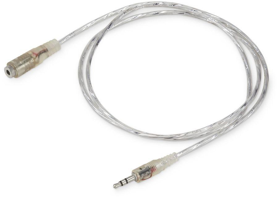 Кабель-удлинитель аудио BURO Jack 3.5 (m)  -  Jack 3.5 (f) ,  1м, прозрачный [cab025-1m]