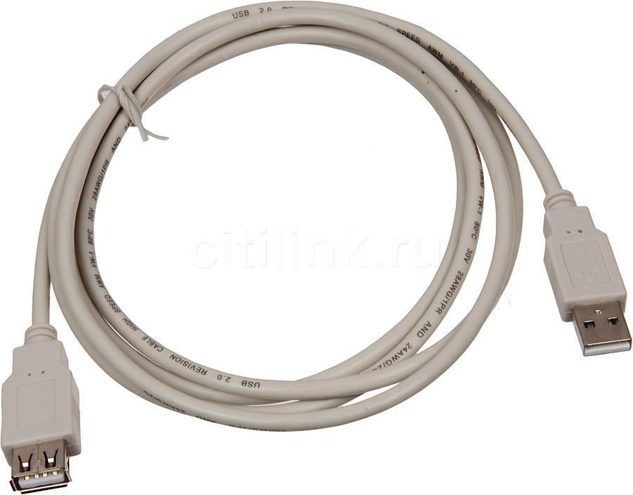 Кабель-удлинитель USB2.0 BURO USB A (m) -  USB A (f),  1.8м [usb2.0-am/af]