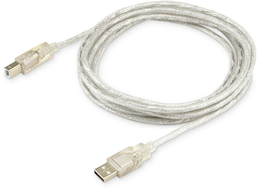 Кабель USB2.0 BURO USB2.0-AM/BM-3-TRANS,  USB A(m) -  USB B(m),  3м,  прозрачный
