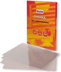 Пленка для ламинирования BURO BU-3LP125,  125мкм,  303х426 мм,  100шт.,  глянцевая,  A3