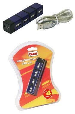 Хаб (разветвитель) BURO BU-HUBP-4, черный