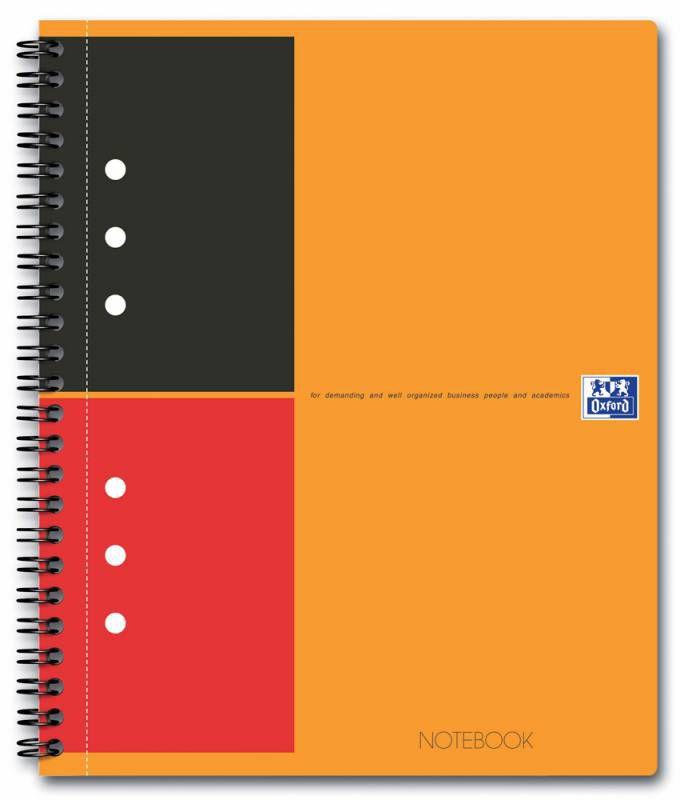 Тетрадь Oxford International NOTEBOOK A5+ ламин.картон 80л линейка спираль двойная оранжевый/черный/
