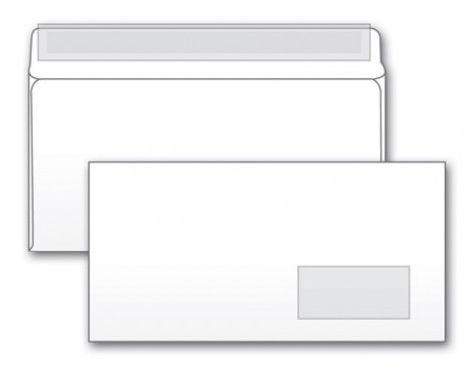 Конверт Бюрократ 125638 E65 110x220мм с правым окном белый силиконовая лента 80г/м2 (pack:1000pcs)