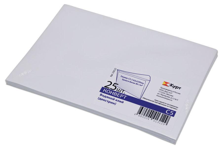 Конверт 250.25 C5 162x229мм белый клеевой слой 80г/м2 (pack:25pcs) [250,25]