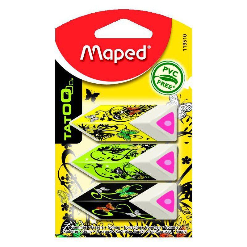 Ластик Maped Pyramide 119510 треугольный белый блистер (3шт)