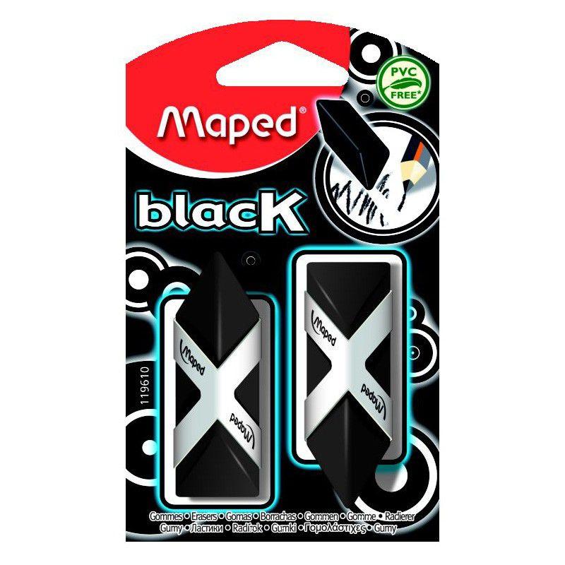 Ластик Maped Pyramide 119610 треугольный черный (2шт)