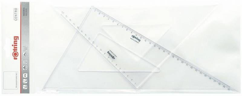 Набор Rotring S0237870 пластик прозрачный угольник 45гр дл32см/30/60гр дл37см