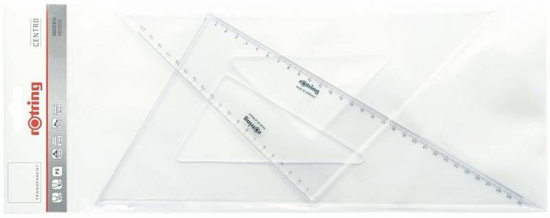 Набор Rotring S0237900 пластик прозрачный угольник 45гр дл36см/30/60гр дл41см