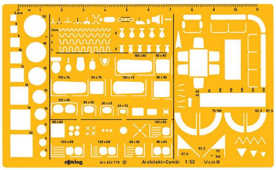 Шаблон архитектурный Rotring Architekt S0238711 пластик 250x150x1.2мм желтый 1:50