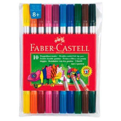 Фломастеры Faber-Castell Eberhard Faber 151110 10цв. двусторонние футляр