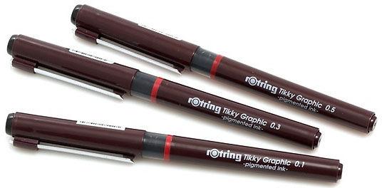 Набор ручек капиллярных Rotring Tikky Graphic (1904780) :3 ручки: 0.1/0.3/0.5мм черные чернила