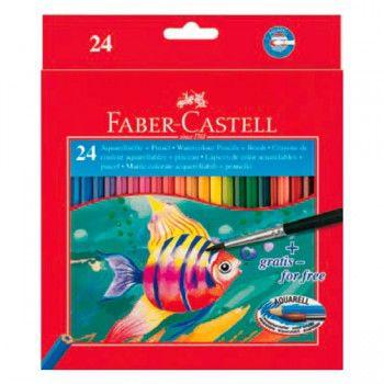 Карандаши цветные акварельные Faber-Castell Colour Pencils 114425 24цв. кисточка карт.кор.