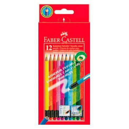 Карандаши цветные Faber-Castell Colour Pencils 116612 с ластиками местом для имени 12 цветов