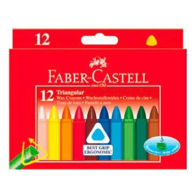 Восковые мелки Faber-Castell 120010 трехгранные 12цв. картон.кор.