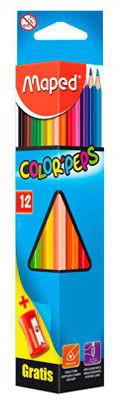 Карандаши цветные Maped Color'Peps из липы треугольные ударопрочный грифель 12 цветов + точилка [183213]
