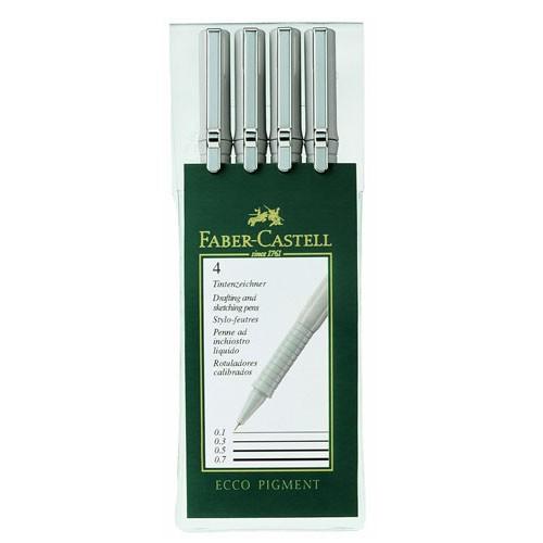 Набор ручек капиллярных Faber-Castell Ecco Pigment (166004) :4 ручки: 0.1/0.3/0.5/0.7мм черные черни