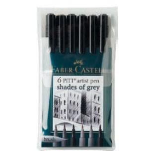 Набор ручек капиллярных Faber-Castell Pitt Artist Pen (167104) 6цв. оттенки серого футляр