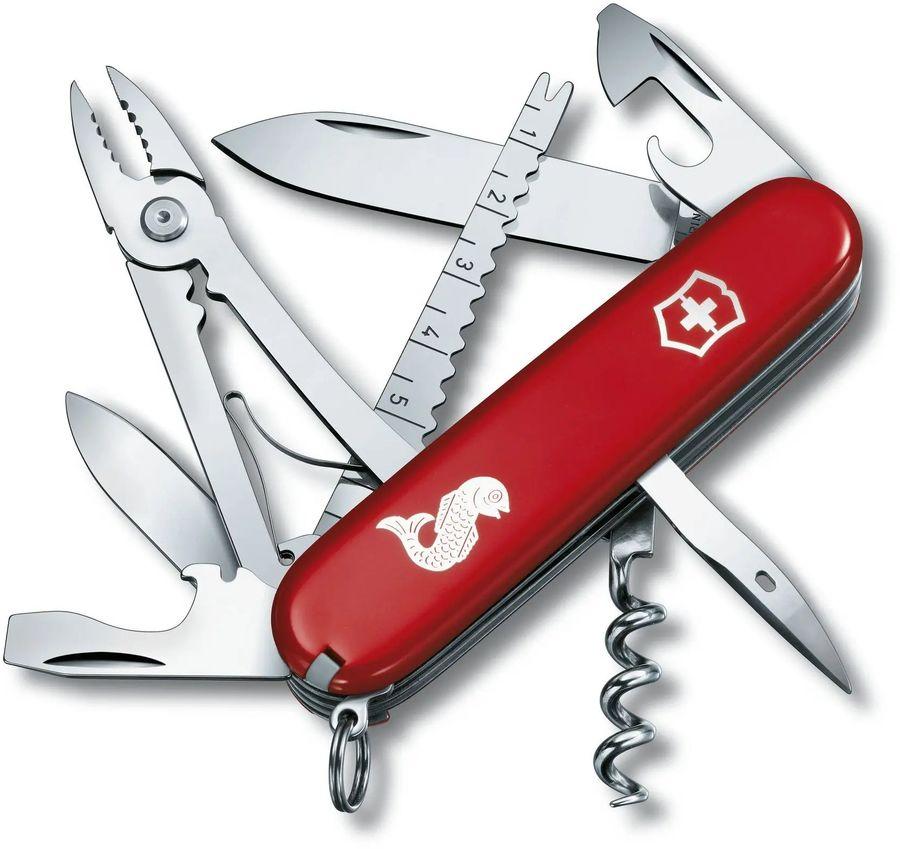 Складной нож VICTORINOX Angler, 19 функций,  91мм, красный  [1.3653.72]