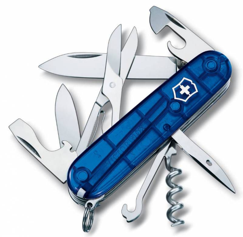 Нож перочинный Victorinox Climber (1.3703.T2) 91мм 14функций синий полупрозрачный карт.коробка
