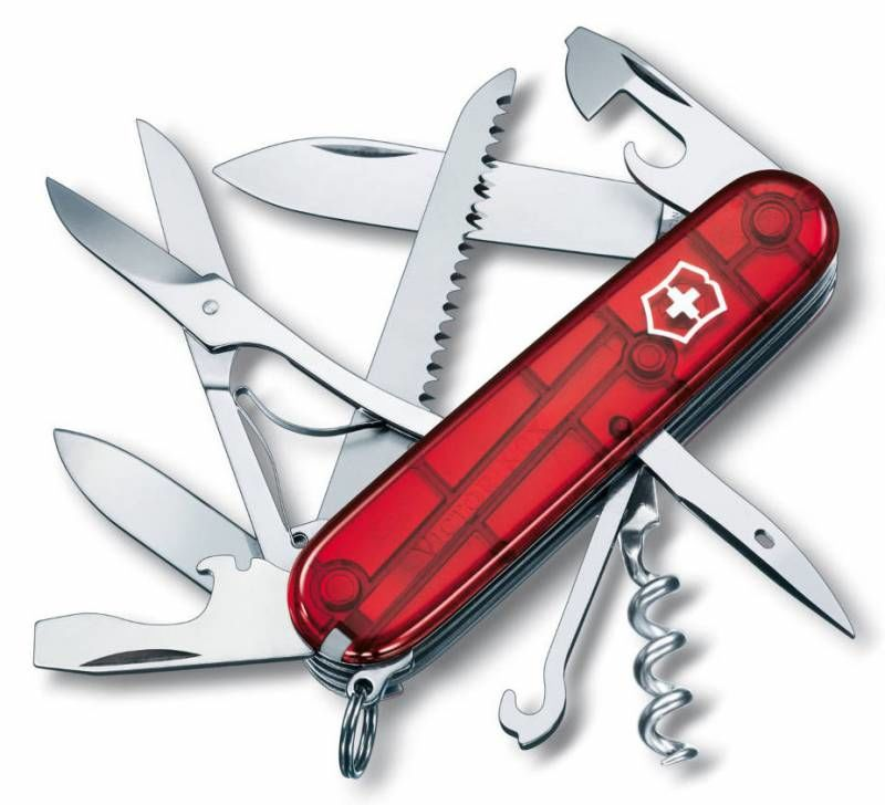 d005cc352f55 Складной нож VICTORINOX Huntsman, 15 функций, 91мм, красный полупрозрачный  [1.3713.t