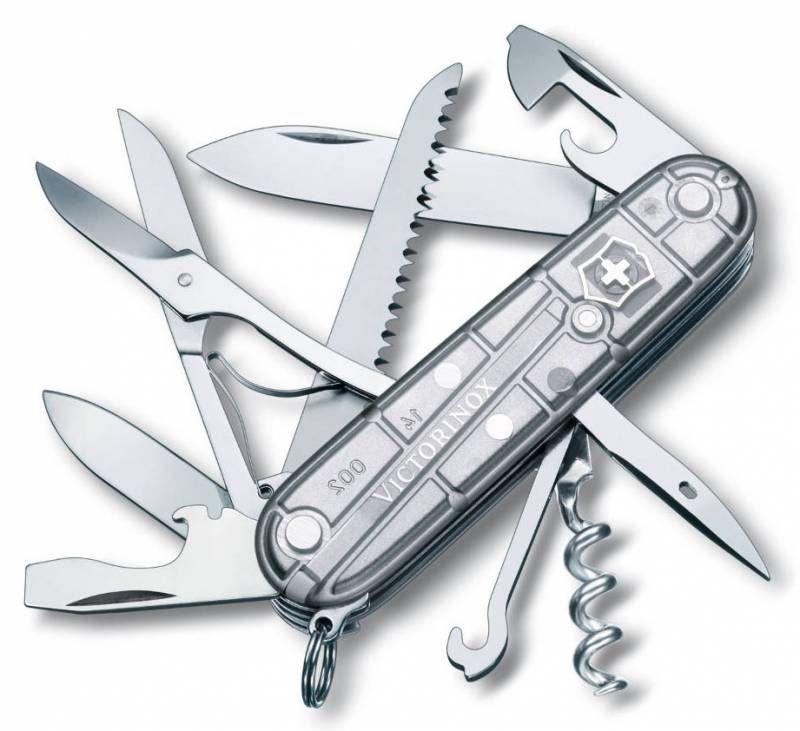Складной нож VICTORINOX Huntsman, 15 функций,  91мм, серебристый полупрозрачный  [1.3713.t7]
