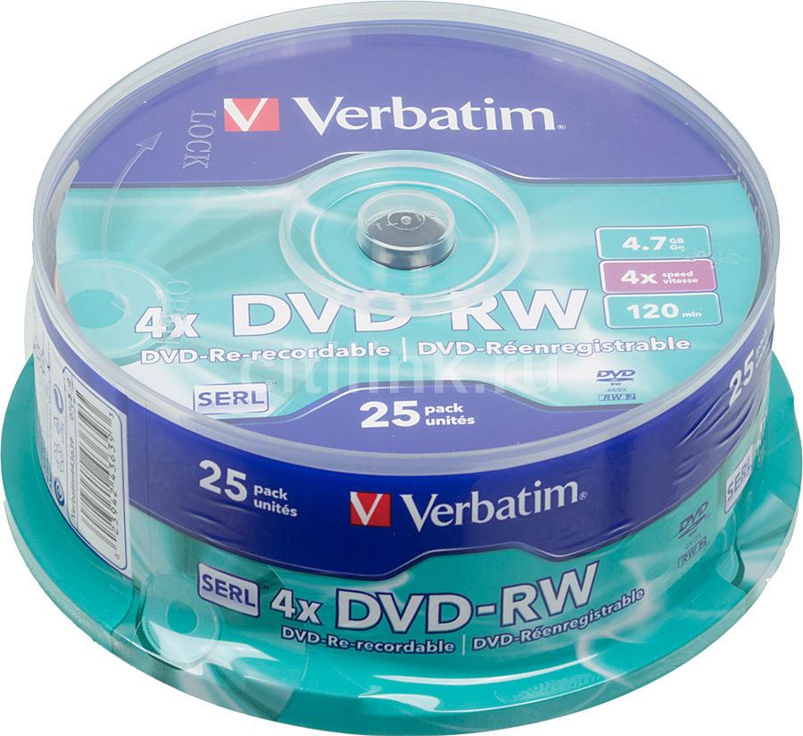Оптический диск DVD-RW VERBATIM 4.7Гб 4x, 25шт., cake box [43639]