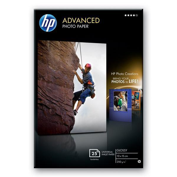 Бумага HP 10x15/250г/м2/25л./белый глянцевое лён для струйной печати [q8691a]