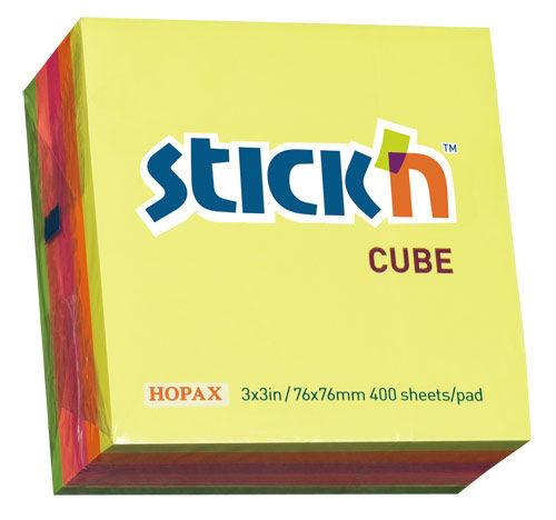 Блок самоклеящийся бумажный Stick`n 21012 76x76мм 400лист. 70г/м2 неон 5цв.в упак.