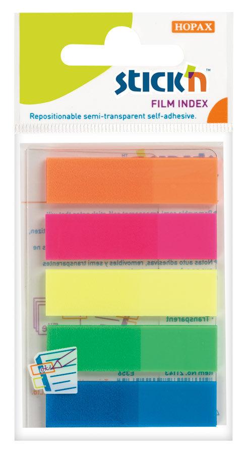 Закладки самокл. индексы пластиковые Hopax 21050 12x45мм 5цв.в упак. 25лист европодвес