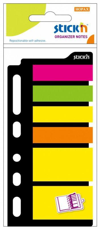 Закладки самокл. индексы пластиковые Stick`n 21070 6цв.в упак. 25лист для органайзера 25x45мм+12x45м