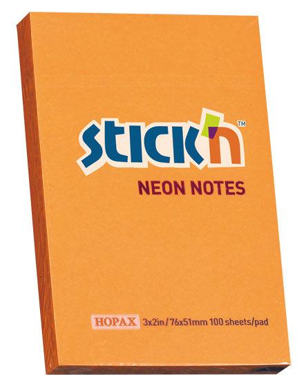 Блок самоклеящийся бумажный Stick`n 21160 51x76мм 100лист. 70г/м2 неон оранжевый