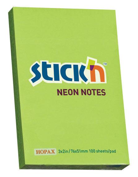 Блок самоклеящийся бумажный Stick`n 21163 51x76мм 100лист. 70г/м2 неон зеленый
