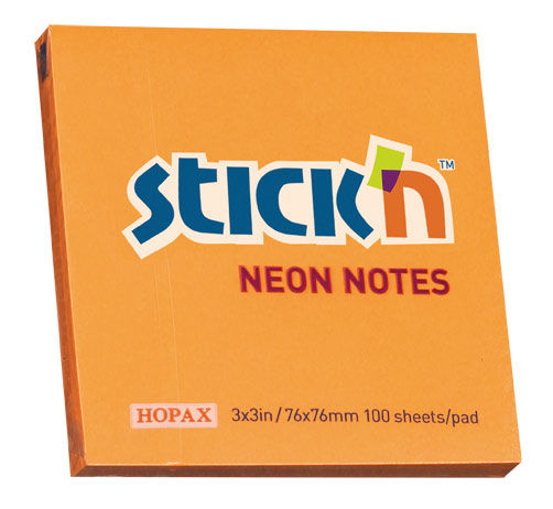 Блок самоклеящийся бумажный Stick`n 21164 76x76мм 100лист. 70г/м2 неон оранжевый