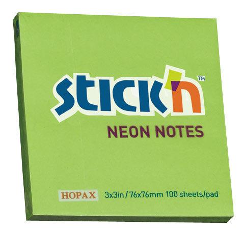 Блок самоклеящийся бумажный Stick`n 21167 76x76мм 100лист. 70г/м2 неон зеленый