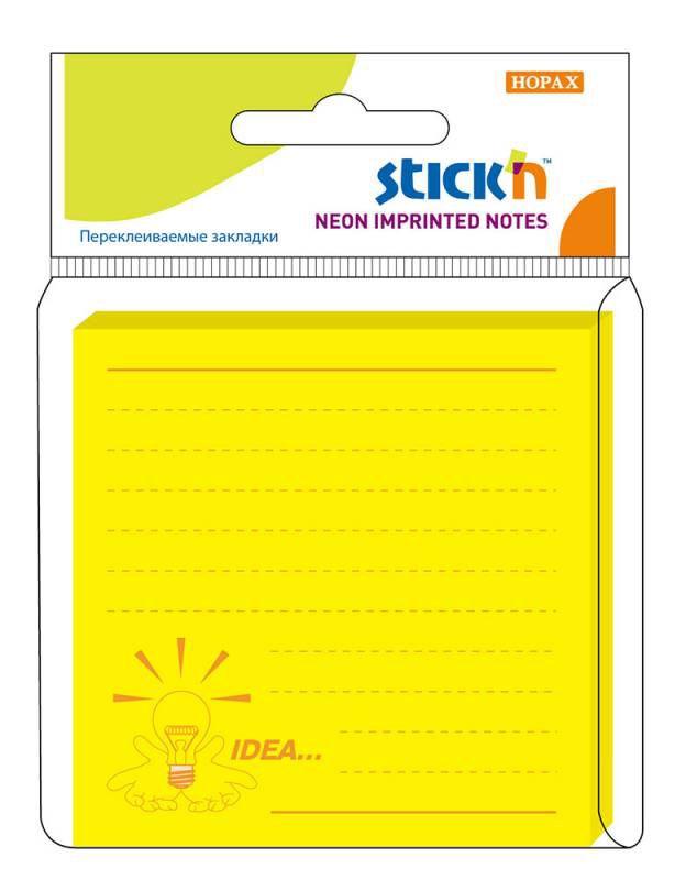 """Блок самоклеящийся бумажный Stick`n 21177 76x76мм 50лист. 70г/м2 неон желтый в линейку """"идея"""" европо"""
