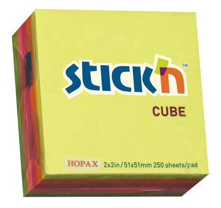 Блок самоклеящийся бумажный Stick`n 21203 51x51мм 250лист. 70г/м2 неон 5цв.в упак.