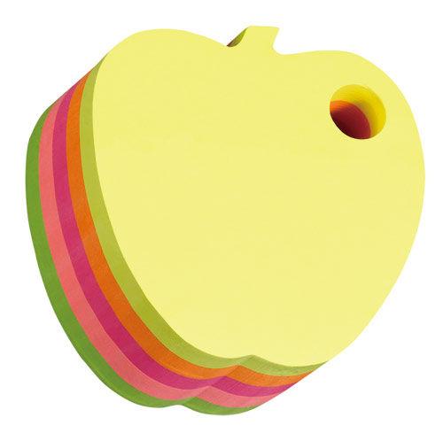 """Блок самоклеящийся бумажный Stick`n 21277 70x70мм 400лист. 70г/м2 неон 5цв.в упак. вырубной """"яблоко"""""""