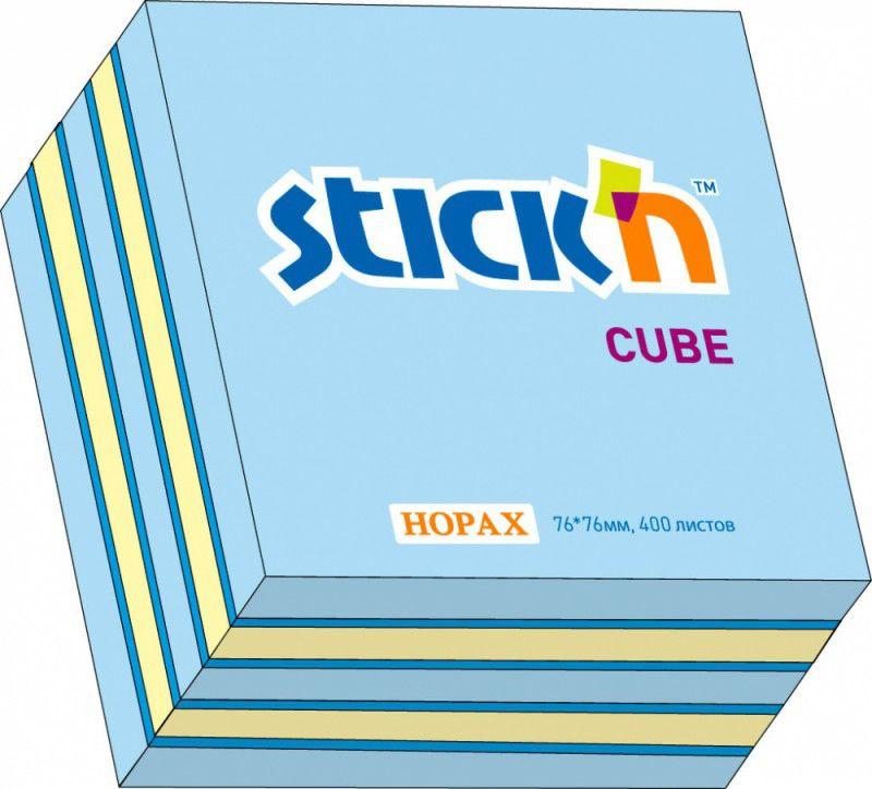 Блок самоклеящийся бумажный Hopax 21340 76x76мм 400лист. 70г/м2 неон+пастель 3цв.в упак.
