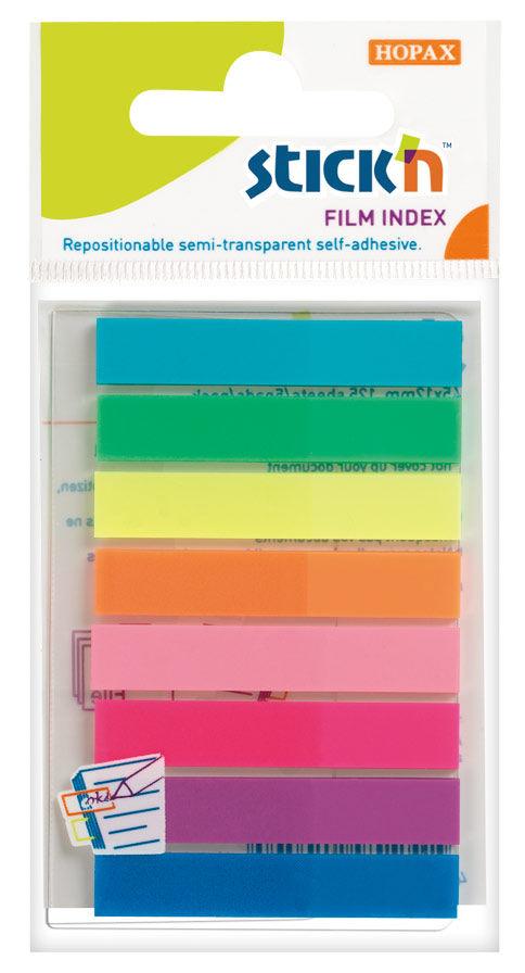 Закладки самокл. индексы пластиковые Stick`n 21401 8x45мм 8цв.в упак. 20лист европодвес
