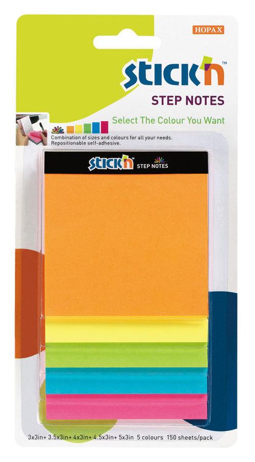 Блок самоклеящийся бумажный Stick`n Magic 21423 150лист. неон 5цв.в упак. несколько размеров