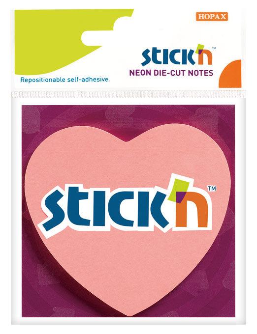 """Блок самоклеящийся бумажный Stick`n 21448 70x70мм 50лист. 70г/м2 неон розовый вырубной """"сердце"""" евро"""