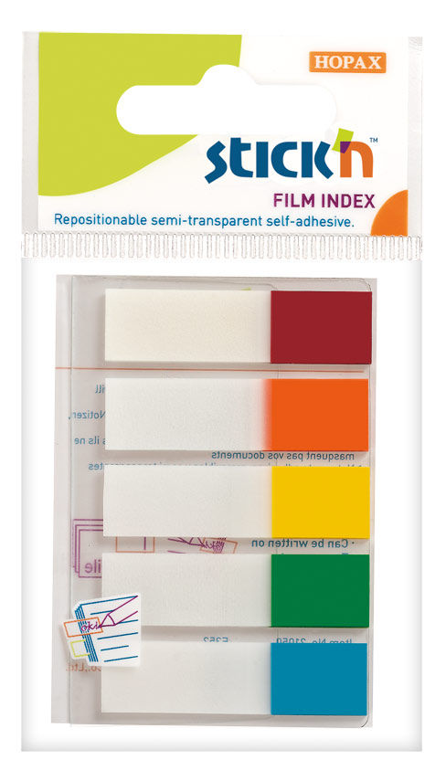 Закладки самокл. индексы пластиковые Stick`n 21465 12x45мм 5цв.в упак. 20лист с цветным краем европо