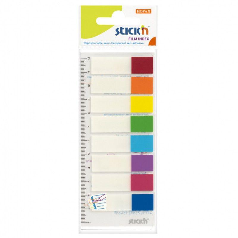 Закладки самокл. индексы пластиковые Stick`n 21467 12x45мм 8цв.в упак. 15лист на линейке с цветным к