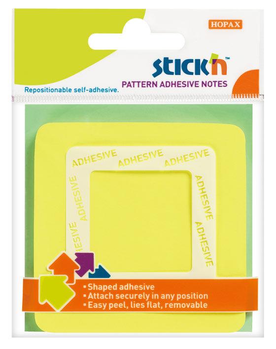 Блок самоклеящийся бумажный Stick`n 21541 70x70мм 50лист. 70г/м2 неон желтый вырубной клей по периме